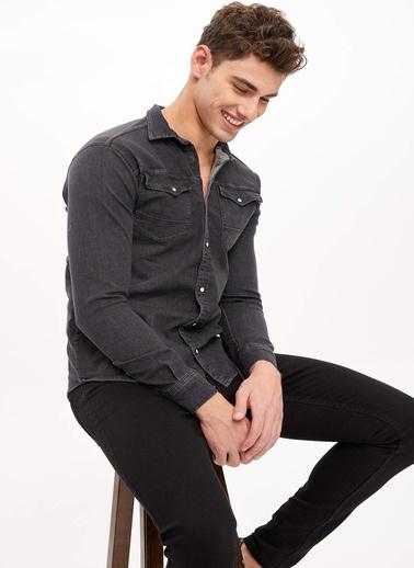 DeFacto Çift Cepli Jean Gömlek Siyah